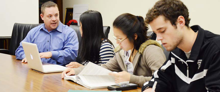 Accounting majors studying at George Fox, a Christian college